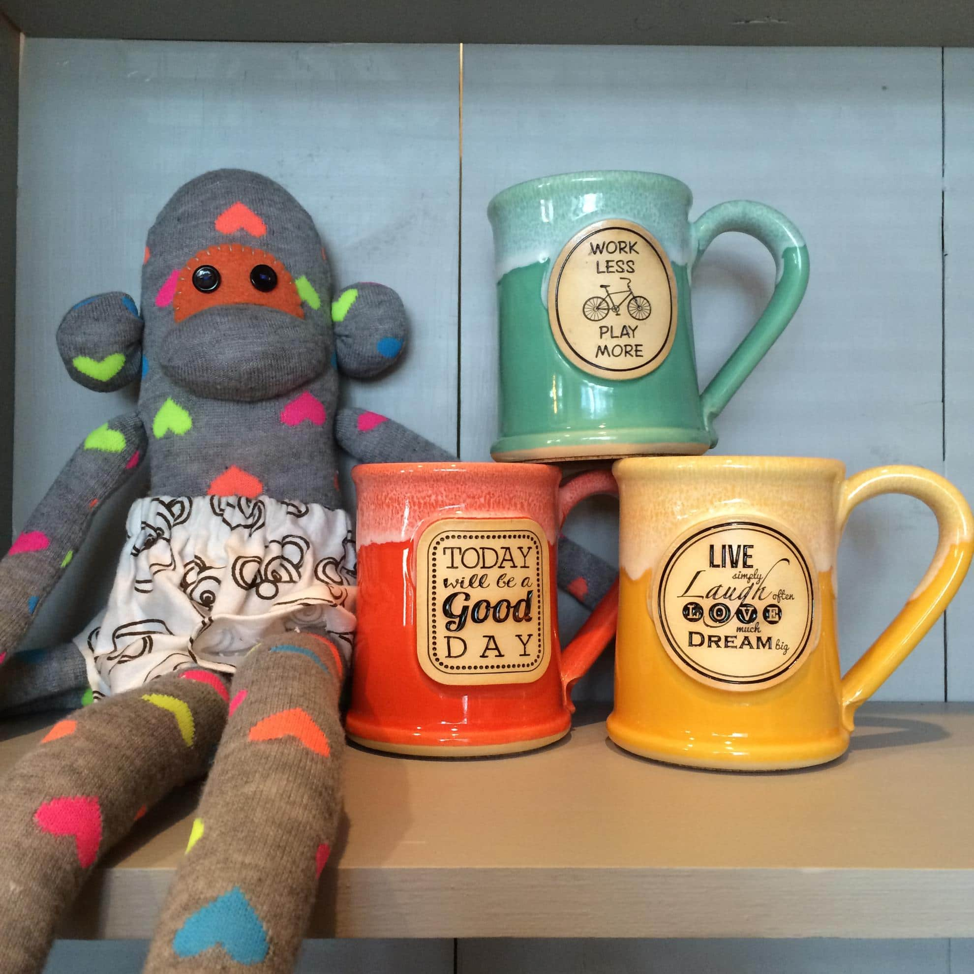 Grey Fox Pottery Sock Monkey